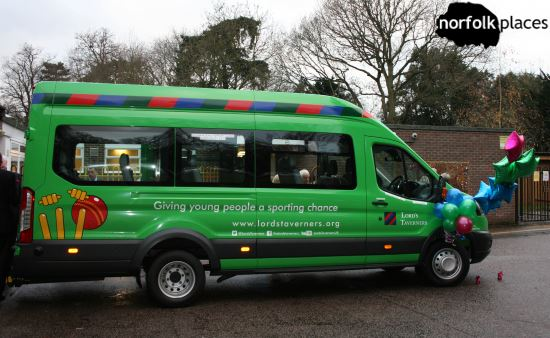 Lord's Taverners presenting Minibus to school in Norwich